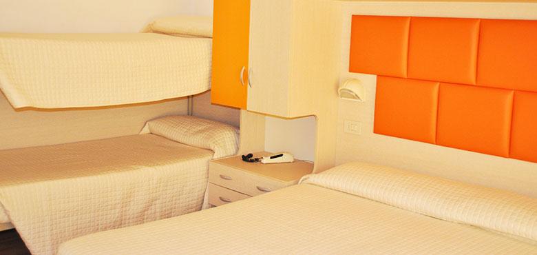 Camera Quadrupla hotel 3 stelle Rivazzurra di Rimini
